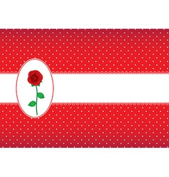 Polka dot card with rose vector
