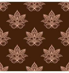 Light and dark brown persian paisley seamless vector