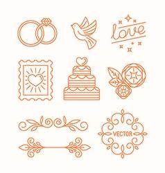 Linear design elements for wedding invitations vector