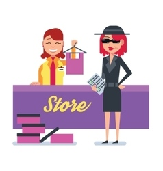 Mystery shopper woman in spy coat checks clothing vector