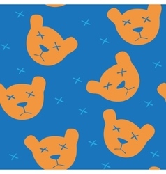 Seamless blue background with orange bears vector