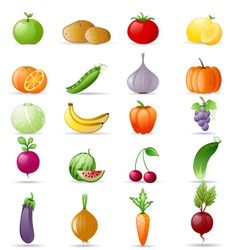 Vegetables and fruit icon set vector