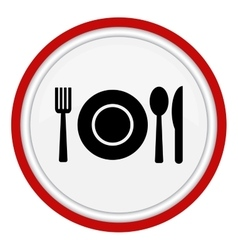 Fork spoon and plate icon vector