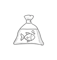 Fish in plastic bag sketch icon vector