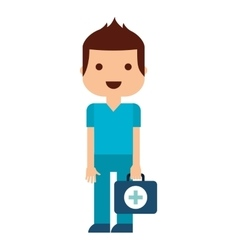 Doctor with kit medical isolated icon design vector