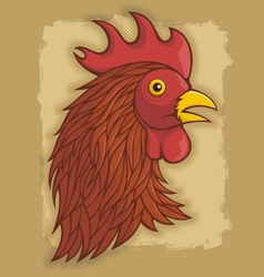 Rooster head red vector