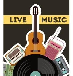 Cassette vinyl guitar radio gramaphone icon vector