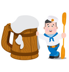 A sailor next to a large wooden beer mug is a vector