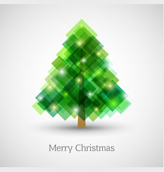 abstract christmas tree made of green squares vector image