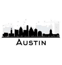 austin city skyline black and white silhouette vector image