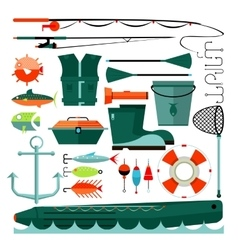 Big set of fishing elements vector image vector image
