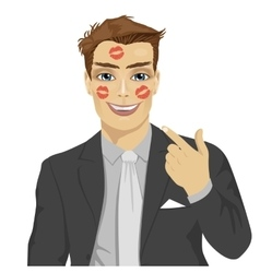 Businessman showing red lipstick kiss marks vector