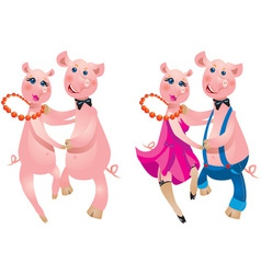 Cartoon of a happy couple pigs dancing vector