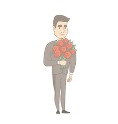 Caucasian businessman holding bouquet of flowers vector
