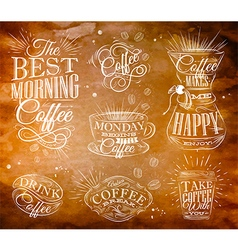 Coffee Signs kraft vector image vector image