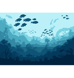 Coral reef and sea creatures undersea vector