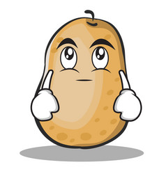 Eye roll potato character cartoon style vector