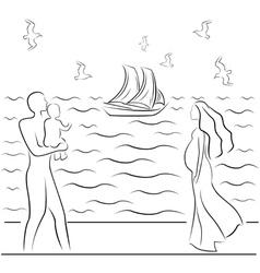 Family Sea 2 vector image vector image