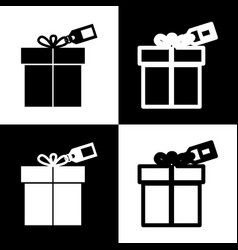 Gift sign with tag black and white icons vector