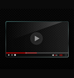 glass video player template vector image vector image