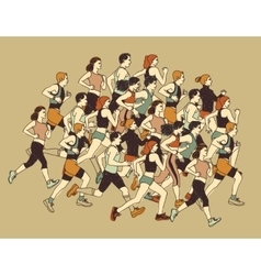 Group people sport moving run together vector