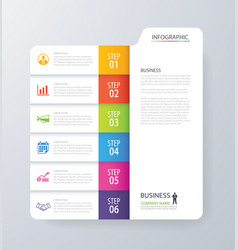 Infographic vertical 6 tab index design vector