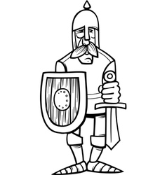 Knight in armor cartoon coloring page vector