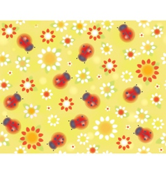 ladybird flowers pattern vector image