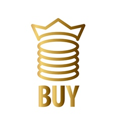 Logo gold coins and crown vector