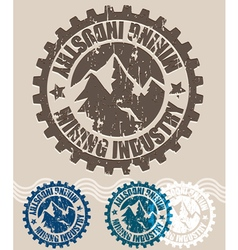 Mining industry retro stamp vector