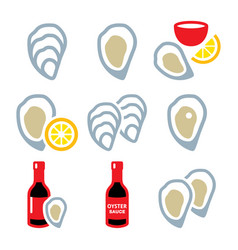 Oysters shell sauce - sea food icons set vector