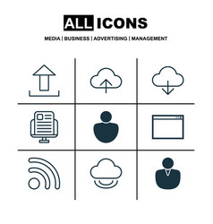 set of 9 web icons includes data synchronize vector image vector image