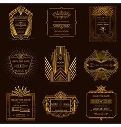 Set of Wedding Invitation Cards - Art Deco Vintage vector image