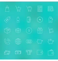 Shopping and money line icons set over blurred vector
