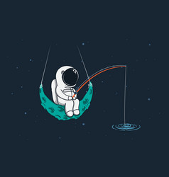 Spaceman sits on moon with a fishing rod vector