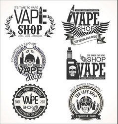 Vape shop labels retro collection vector