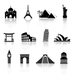 World sights icons world famous buildings vector