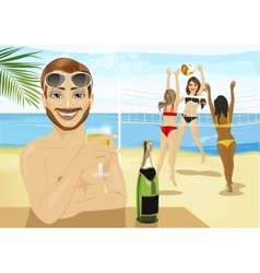 Young man drinking champagne in front of girls vector