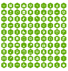 100 education icons hexagon green vector