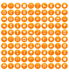 100 motorsport icons set orange vector