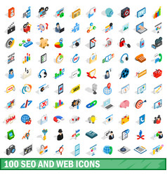 100 seo and web icons set isometric 3d style vector