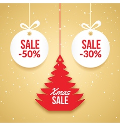 Christmas balls sale special offer tag new year vector