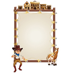 A cowboy and a horse in front of an empty signage vector image
