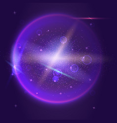Bright glowing ball filled with particles and dust vector