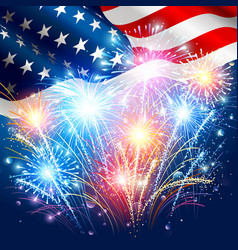 American flag with colored fireworks vector