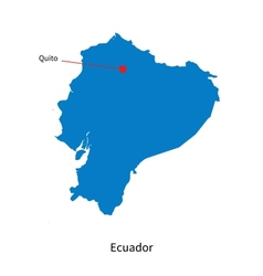 Detailed map of ecuador and capital city quito vector