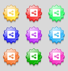Share icon sign symbol on nine wavy colourful vector