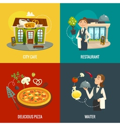 Restaurant or cafe concepts with waiter pizza and vector