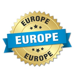 Europe round golden badge with blue ribbon vector