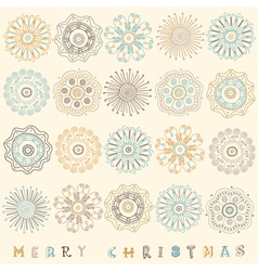 Vintage christmas pattern card vector
